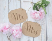 Mr and Mrs burlap wedding signs- chair signs rustic weddings