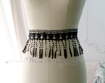 Chic Tribal Boho Gypsy Hippie Stylish Black Fringe Fringes Lace Belt Women Sash Mysterious Mask Head Wrap Headband French Shabby Chic Party