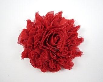 Red Sparkle Flower Hair Clip - Shabby Flower Hair Bow - Shabby Chiffon Hair Clip - Red - Red Hair Bow - Sparkle Flower Hair Clip