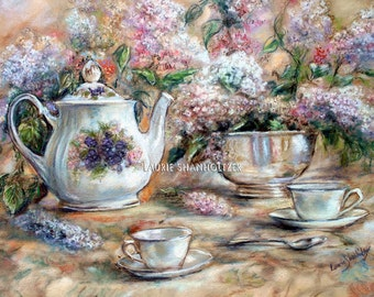 "Teacup, Teapot, tea-party, Still life, floral art Canvas art prints Laurie Shanholtzer ""Tea and Lilacs"""