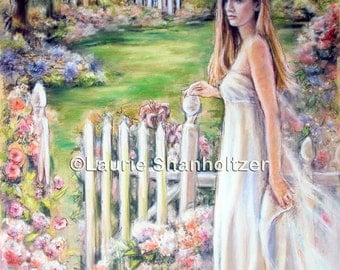 "Woman, Lady, Romantic,,white dress, Portrait, Southern, garden, Canvas or Cotton art paper print, Laurie Shanholtzer, ""Gentle Southern Days"""