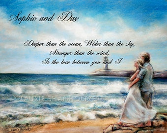 "Couple, Personalized gift loved one, Beach Art Print  ""I Would Rather Be Here"" Wedding, Anniversary,Laurie Shanholtzer"