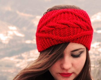 Red Cable Knitted Headband Ear Warmer Cable Knit Fashion Accessory Red Turban Style Exclusive Cozy Ear warmer Winter Fashion Gift for Her