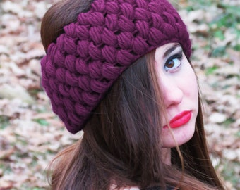 Pinot Noir Luxxe Turban, PLUM Pink Ear Warmer, Chunky Slip on Headband for Women, Perfect Stocking Stuffers, Wide Knitted Headband, turban