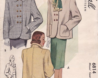 1940s Classic Coat Pattern McCall 6814 Size 14