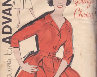 Classic 1950s Dress Pattern Advance 9764 Size 12 Uncut
