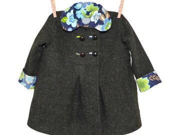 Girls Coat, Size 3T, Dress Jacket, OOAK Brown Heather Wool Tweed Spring Fall Winter Toddler Coat