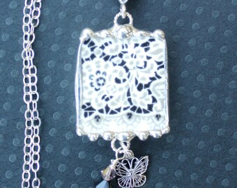 Necklace, Broken China Jewelry, Broken China Necklace, Black and Taupe Lace China, Sterling Silver, Butterfly Charm, Soldered Jewelry