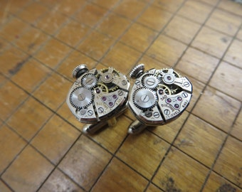 Bulova 5AD Watch Movement Cufflinks. Great for Fathers Day, Anniversary, Groomsmen or Just Because.  #396