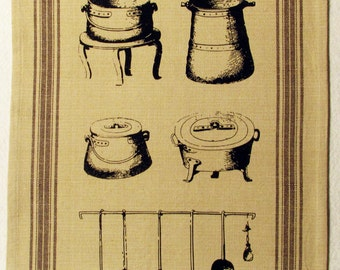 Cotton Tea Towel with Cast Iron Colonial Kitchen Design