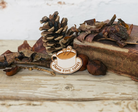 Twin Peaks Brooch - 'Damn Fine Coffee'