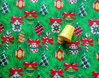 green christmas ornaments print cotton fabric pieces