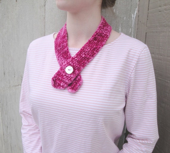 Knitting Pattern For Small Neck Scarf : Small Neck Scarf Bright Pink Button Scarf Scarflette by ...