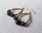 Boho Hoop Earrings, Bohemian Earrings, Czech Glass Earrings, Choose Your Preferred Color
