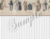 Parisian Chic Dollhouse Miniature Wallpaper, Scale One Inch