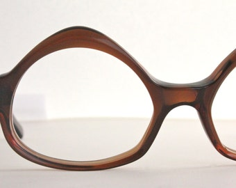 Vintage 50's French Swank Brown Cat Eyeglasses Sunglass Frames