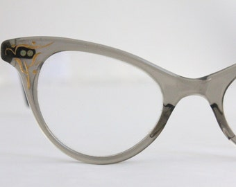 Vintage 50's Engraved Gray Cat Eye Eyeglasses Sunglass Frames