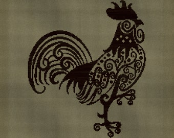 Rooster Cross Stitch Pattern Cross Stitch Design pdf Instant Download Modern Design Chicken Bird Pattern