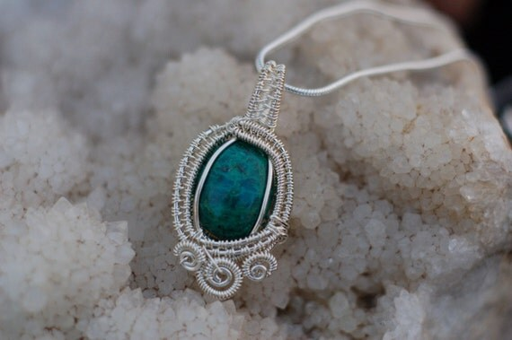 Chrysocolla Gemstone Pendant in Sterling Silver / Teal Stone Necklace / Small Wire Wrapped Pendant / Artisan Jewelry