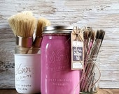 Handmade ChalkFinish Paint, BloomingFusia, Pink, Shabby Chic Pink Furniture, Ice Cream Party, Hot Pink Furniture, Pink Lemonade Stand, Brush