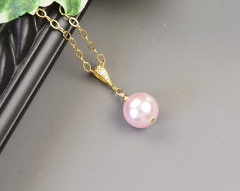 Pink Pearl Necklace - Gold Pink Swarovski Pearl Bridesmaid Necklace - Pearl Bridal Necklace - Bridesmaid Jewelry - Wedding Jewelry