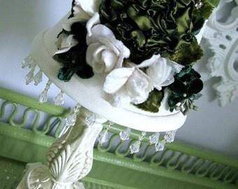 Lamp Shade Velvet Millinery Flowers Custom Shade Vintage Crystals Green Ribbon Rose Beaded Trim Shabby Chic Cottage Victorian