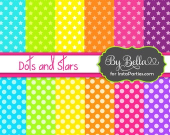 COLORFUL stars dots digital paper scrapbook backdrops