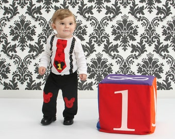 Mickey Mouse First Birthday Outfit Tie and Suspender Bodysuit with Pants First Birthday Cake Smash Outfit Mickey Party