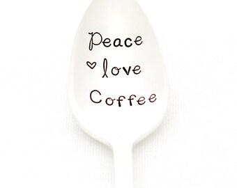 Peace, Love, Coffee. Hand Stamped Vintage Coffee Spoon. Stamped Silverware by Milk & Honey.