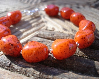 CLEARANCE, Orange Beaded Bracelet, Harvest Jewelry, Junk Drawer Jewelry, Upcycled Jewelry, Repurposed Jewelry, Fall Bracelet, SALE
