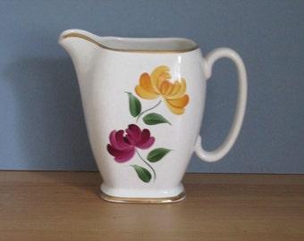 1950s Pitcher White Jug Vase Old Court Ware J Fryer Hand Decorated Home Decor