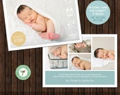 INSTANT Download PSD 5x7 Birth Announcement Card Template - B9