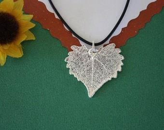 SALE Leaf Necklace, Heart Shaped Leaf, Silver Cottonwood Leaf, Real Leaf Necklace,Silver Cottonwood Leaf Pendant, SALE18