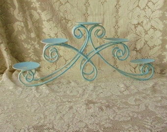 Metal candle holder Aqua with white wash Rusty