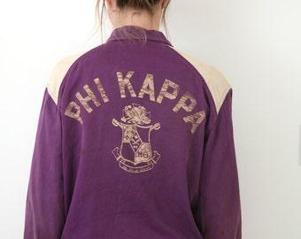Vintage 30s - 40s Varsity Jacket PHI KAPPA Fraternity Purple Beige M - L