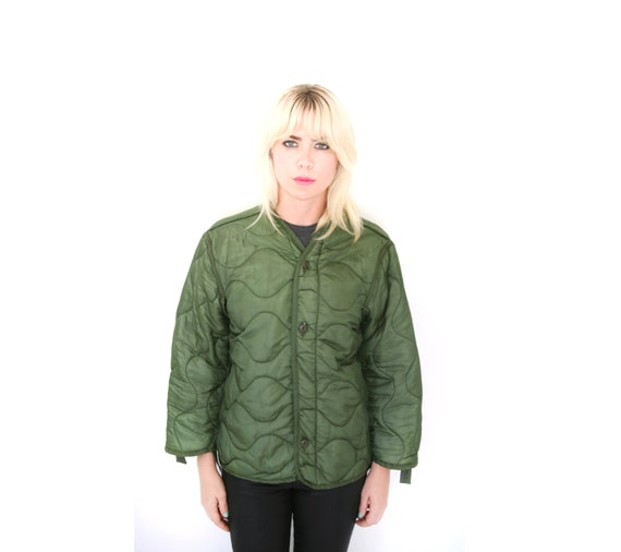 Vintage Army Green Quilted Jacket Liner Olive By