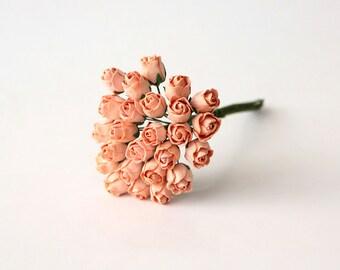 25 pcs - Peach Mulberry Paper Semiopen Rose buds