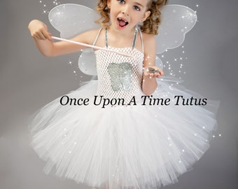 tooth fairy tutu dress silver and white photo prop halloween costume little girls