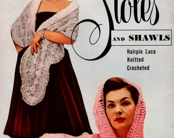 1950s Crochet Knit Hairpin Lace Sewing Pattern Instructions Stoles Shawls Star Booklet DIY Shrug Should Wrap