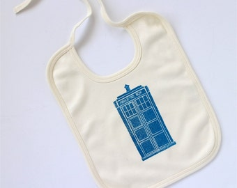 Tardis Inspired Organic Doctor Who Baby Bib