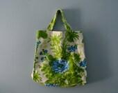 Reserved Reserved Reserved  Vintage Floral Print Tote Bag / Bark Cloth Farmers Market Bag / Handmade Shoulder bag