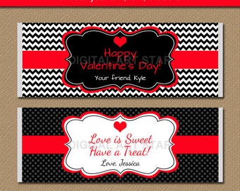EDITABLE Valentines Day Chocolate Bar Wrappers - Printable Candy Bar Wrappers - Red Black Valentine Party Favors - Valentine Gift - RBCV