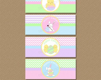 Easter Napkin Rings - Easter Napkin Wraps - DIY Easter Party Printables - Chevron Printable Easter Wraps - Easter Party Decor - INSTANT