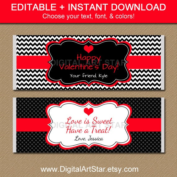 Editable valentines day chocolate bar wrappers by for Valentine candy bar wrapper templates