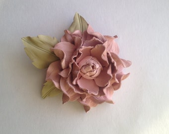 Pale pink brooch, Blush pink leather flower brooch, Leather flower pin, Handmade flower, Bridesmaid gift, Mothers Day gift, Annyversary gift