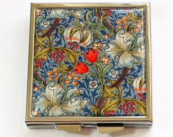 Floral pill case, Flower pill box, Square Pill case, Pill Box, Pill Case, 4 Sections, floral case, blue (4528)