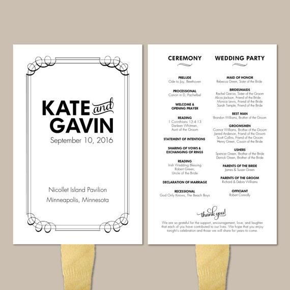 Modern Black Printable Wedding Program Fan - DIY Ceremony Program Fan - Classic, Flourish, Black and White