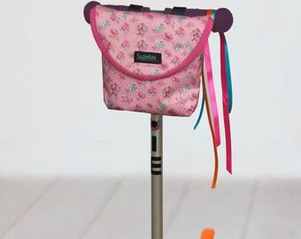 Vintage Rose Print Handlebar Bag, bike bag, scooter bag, handlebar bag, by Suzielou textiles, waterproof, gift for child