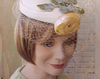 Darling 1950's Hat with Golden Yellow Rose and Face Netting-A Perfect Easter Hat