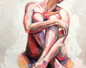 Nude in White, fine art print of original oil painting